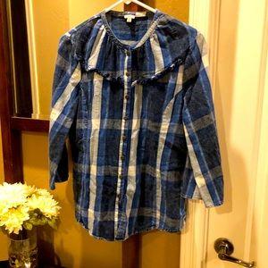 Reba Women's blouse 3/4 sleeve Flannel
